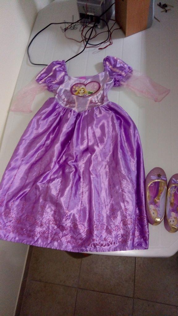 Vestido princesa Rapunzel Disney e sapatos