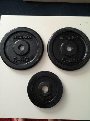 Obciążenie żeliwne 2x5kg / 1x2.5kg żeliwo ogumowane