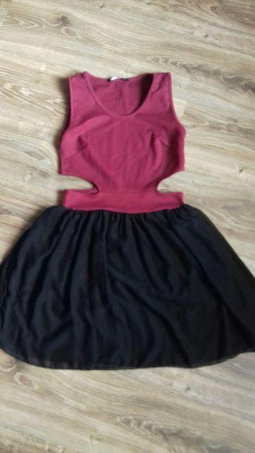 Sukienka z wycięciem po bokach roz 12 czarno bordowa