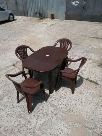 Мебель для сада, стол и кресла, коричневый комплект