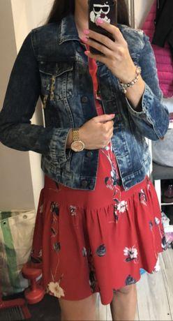 Sukienka z falbanką czerwona w kwiaty PurPura rozm.38