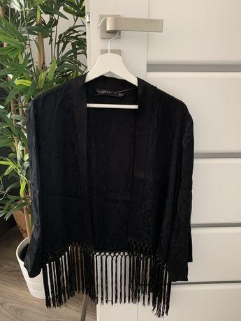 Nowa czarna narzutka Zara kimono poncho frędzle hit M 38