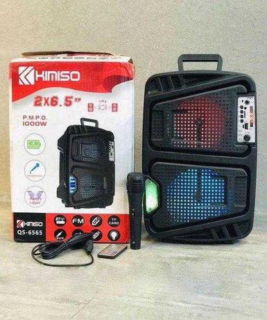 Мощная колонка чемодан Kimiso QS-6565+микрофон, FM радио, MP3, пульт
