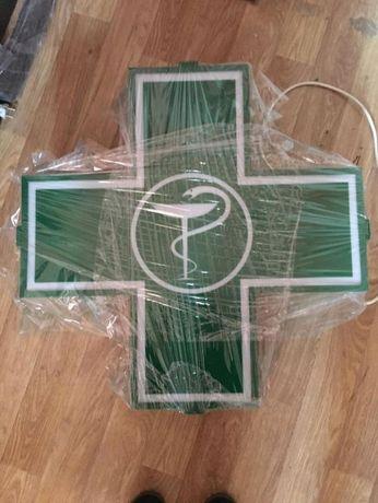 Крест Аптечный Световой ( Указатель зелёный крест новый)Вывеска
