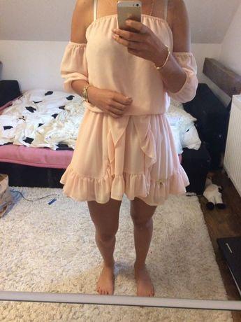 Sukienka suknia z koła pudrowy róż