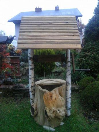 Studnia rzeźba z jednolitego drzewa do ogrodu,ozdobna