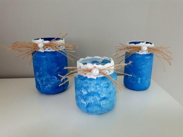 Ręcznie robiony niebieski zestaw dekoracyjny handmade
