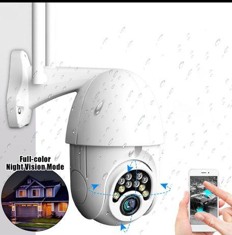 (NOVO)Câmera de vigilância exterior IP 360° visão noturna, sens mov