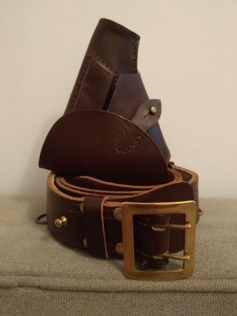 Pas oficerski wojskowy skórzany z kabura p64 nowe orginal