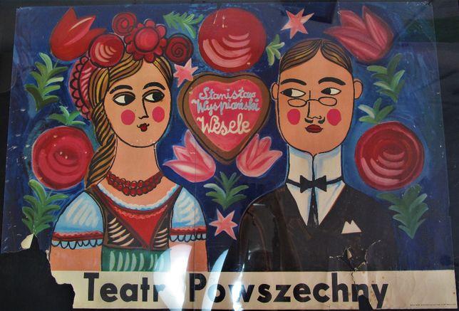 Plakat teatralny Stanisław Wyspiański Wesele 1968r