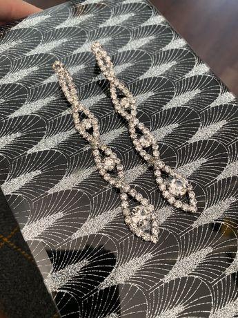 Długie kolczyki ślubne cyrkonie eleganckie lux