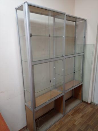 Стеклянные витрины с подсветкой алюминиевая 2160х800х300 вітрина