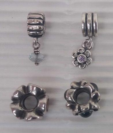 4 contas em prata da Pandora