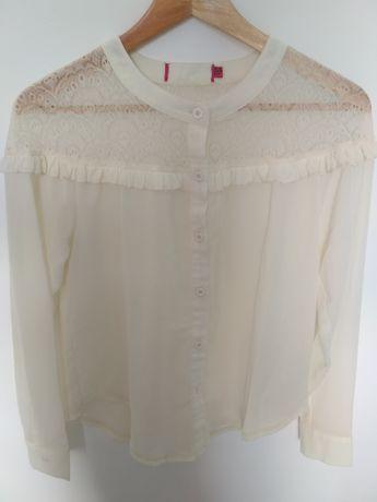 Kremowa przezroczysta koszula vintage