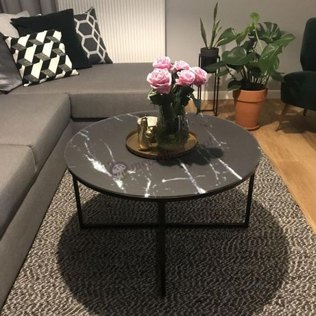 Nowy stolik kawowy Alisma- szklany blat, loft