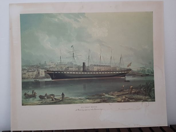 "Obraz, litograf angielski - Statek SS ""Great Britain"""