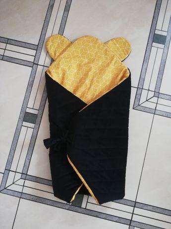 Rożek niemowlęcy velvet premium czarny żółty 80x80