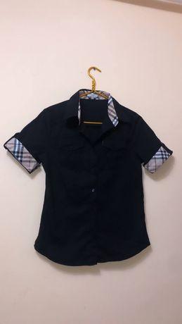 Женская рубашка Burberry / Чёрная рубашка Burberry с короткими рукавам
