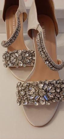 Sandały buty ślubne ksis wedding shoes 39 elsa białe