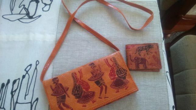 Torebka skórzana kopertówka orientalny wzór z portfelem NOWA