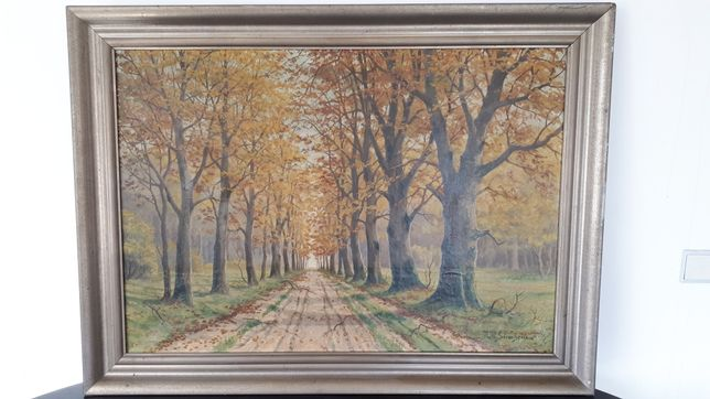 Obraz olejny na płótnie w drewnianej ramie 11500x900 m, H.W Sorensen