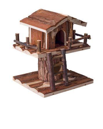 Drewniany piętrowy domek dla chomika z drabinką