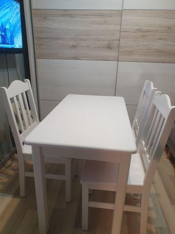 Zestaw stol i 3 krzesla bialy skandynawski