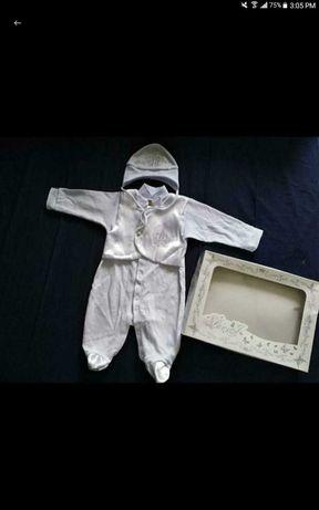 Боди,человечек,Комплект набор костюм на выписку крещенин для мальчика