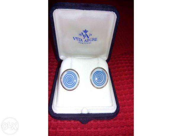 Botões de punho em prata e porcelana da Vista Alegre