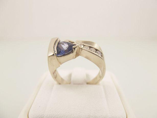 pierścionek złoto 585 brylanty 0,20 karata tanzanit - 8,12 g