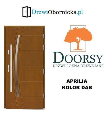 Drzwi DOORSY APRILIA drewniane zewnętrzne wejściowe 100mm grubości