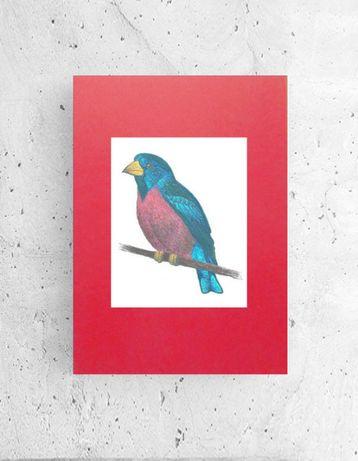 czerwony plakat a4, ładny plakat ptaszek, ptak plakat na ścianę, grafi