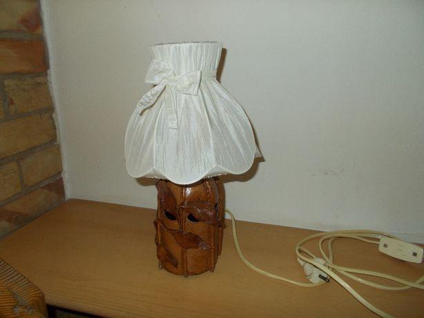 Lampa stołowa oprawiona w skórę - lata 80-te