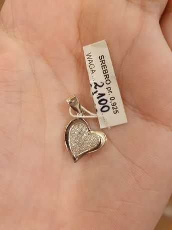 Wisiorek serce walentynki srebro