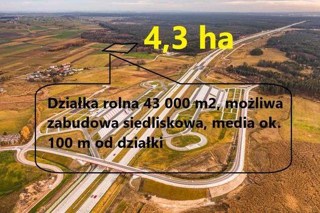 NOWA CENA - OKAZJA 4,3 ha działka siedliskowa, rolna, blisko węzła A1
