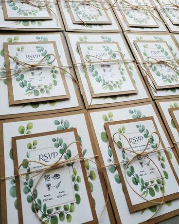 Zaproszenia ślubne A6 + A7 rustykalne liście zielone green eukaliptus