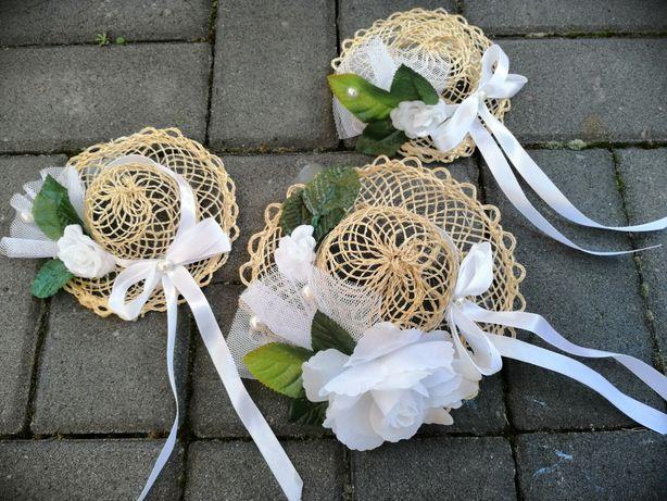 Komplet dekoracji wesele ślub na auto barierki itp kapelusze rattan