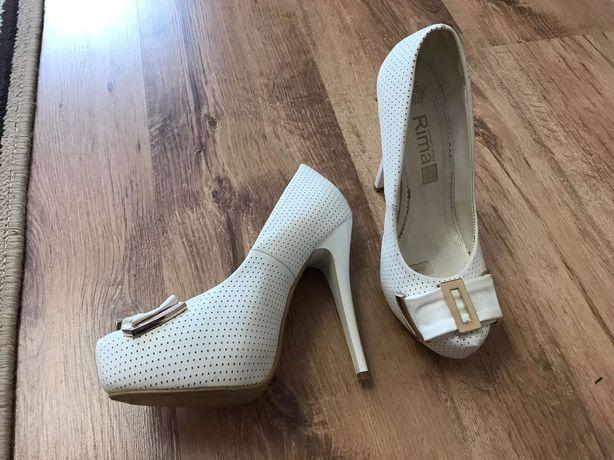Туфли свадебные кожанные белые