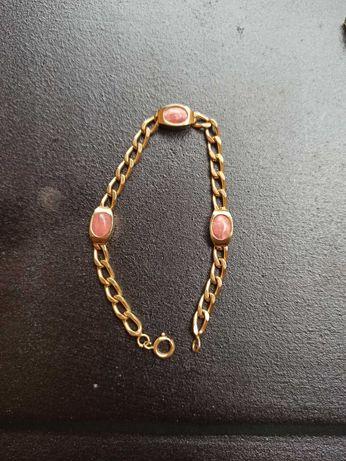Bransoletka żłota 333 + kwarc różowy
