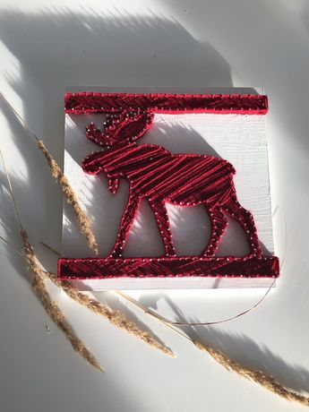 Картина в стилі стринг арт (стрінгарт, stringart) новорічна ( декор)