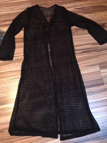 Długa czarna ażurowa tunika sweter narzuta żakiet