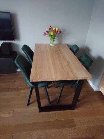 Stół drewniany jesionowy na nogach z metalu, metalowego kształtownika