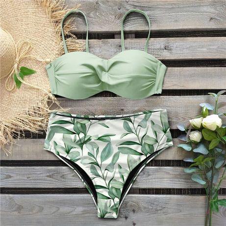 kostium kąpielowy pistacjowy jasnozielony top rozmiar L