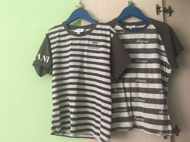Piękne koszulki Armani w paski t-shirt 116 122 na 5-6 lat bluzka