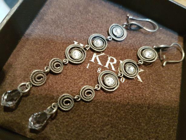 W.KRUK kolczyki TELKARI długie srebro kryształy ORSKA