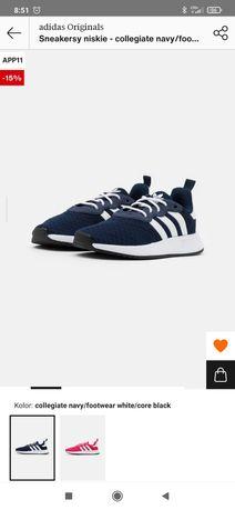 Buty adidas originals sneakersy niskie biale granatowe niebieskie nowe