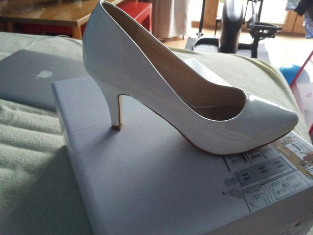 Buty ślubne 37 białe szpilki