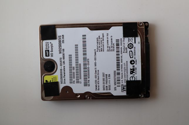 "Жесткий диск 2.5"" Western Digital 250GB (WD2500BEVS)"