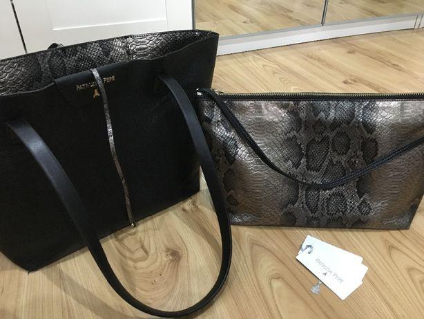 PATRIZIA PEPE shopperka 2w1 dwustronna torebka czarna wężowa etui