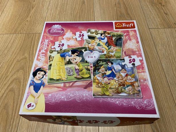 Puzzle Trefl Disney 3 w 1 20, 36, 50 elem. Królewna i 7 krasnoludków